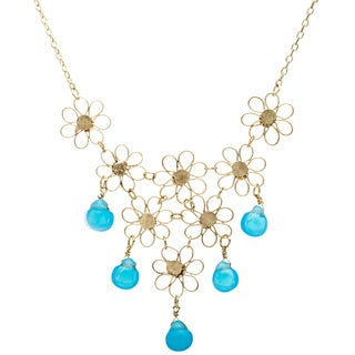 Goldtone Small Flower Bib Necklace with Beads (India)