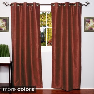 Faux Silk Blackout Grommet 84-Inch Curtain Panel Pair