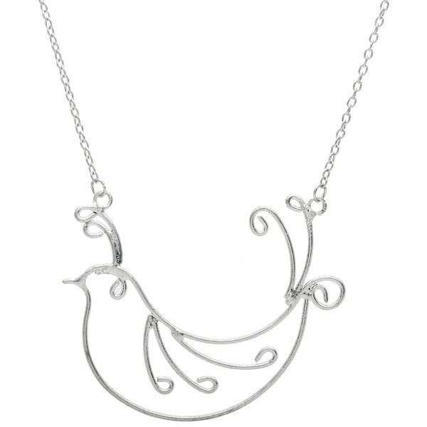 Silvertone Bird Long Necklace (India)
