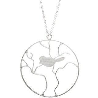 Silvertone Long Bird Necklace (India)
