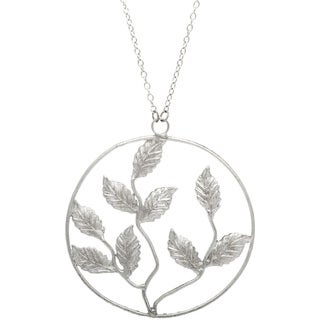 Silvertone Long Necklace with Leaf Pendant (India)