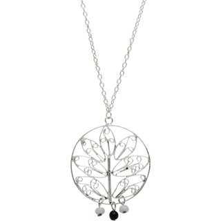 Silvertone Long Necklace with Plant Design (India)