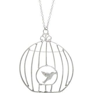 Silvertone Birdcage Long Necklace (India)