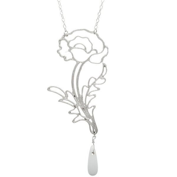 Silvertone Long Rose Necklace (India)