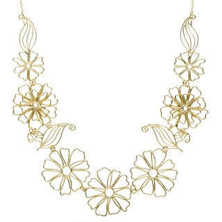 Goldtone Necklace with Multiple Large Flowers (India)