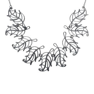 Black Metal Leaves Necklace (India)