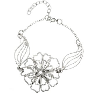 Silvertone Bracelet with Large Flower (India)