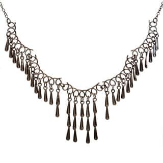 Black Teardrop Fringe Necklace (India)