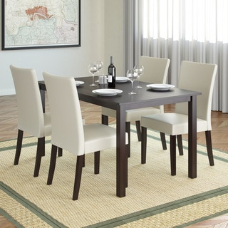 CorLiving DRG-795-Z3 Atwood 5-piece Dining Set with Cream Leatherette Seats