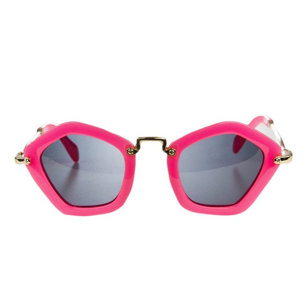 Crummy Bunny Little Girls' Pink Pentagon Frame Polarized Sunglasses