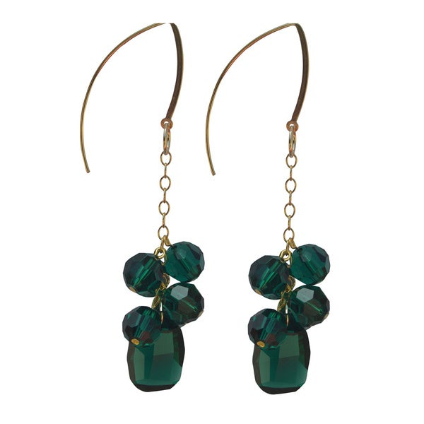 Handmade Crystal Emerald Drop Earrings