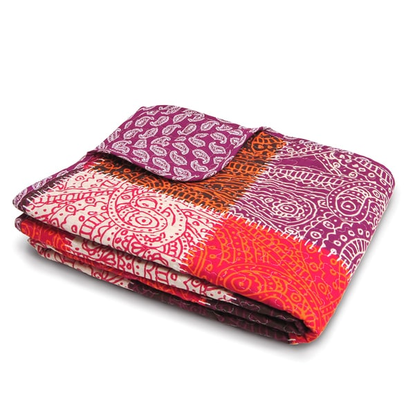 Lush Decor Paisley Patchwork Fuchsia Throw Blanket