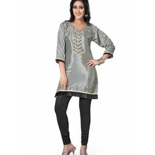 Grey designer Kurti / Tunic with beaded neckline (India)