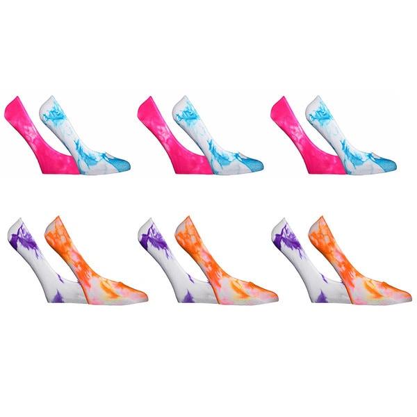 Women's Nylon Tie-dye Peds Socks (Pack of 12)