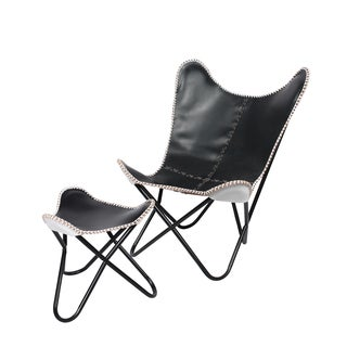 Butterfly Leather Chair and Ottoman Black / White