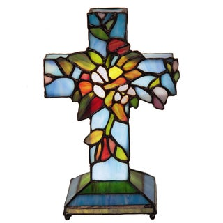 Stained Glass Flowers and Vines Cross Wireless Accent Lamp