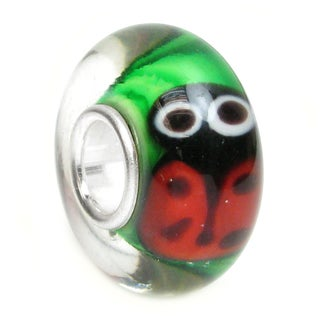 Queenberry Sterling Silver Green Murano Glass Ladybug European Bead Charm