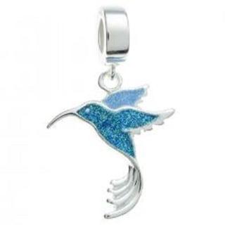 Queenberry Sterling Silver Blue Enamel Hummingbird Bird Dangle European Bead Charm