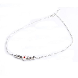 Queenberry Sterling Silver Round Satin with Red Enamel Heart Rolo Cable Anklet