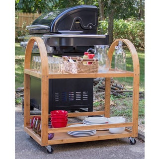 Bamboo Extra Large Rolling Serving Cart
