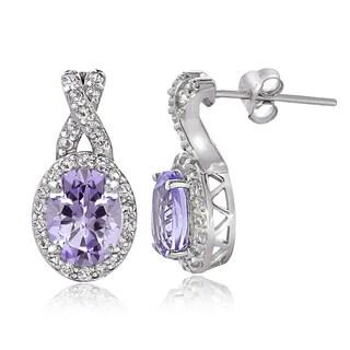 Glitzy Rocks Sterling Silver Gemstone X and Oval Drop Earrings