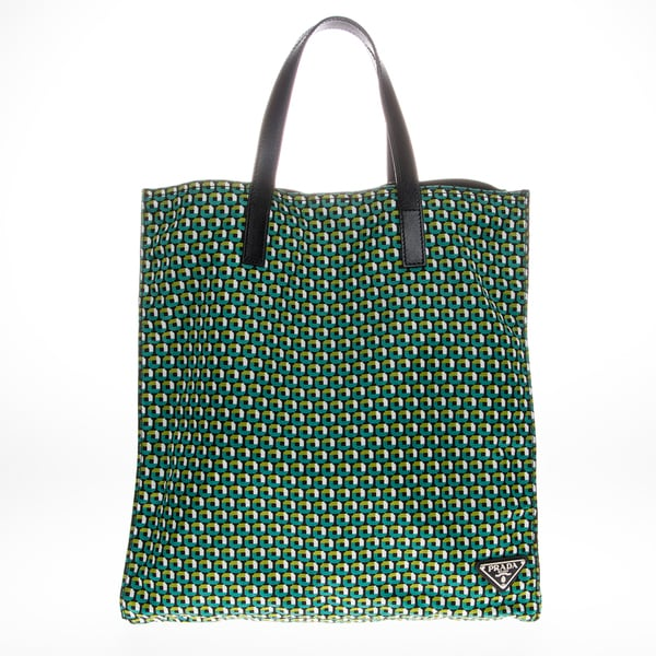 Prada Green Octagon Print Nylon Tote Bag