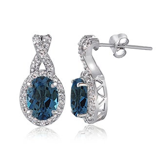 Glitzy Rocks Sterling Silver 3.5ct London Blue & White Topaz X and Oval Drop Earrings