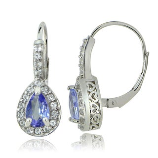 Glitzy Rocks Sterling Silver 1 3/8ct TGW Tanzanite and White Topaz Teardrop Leverback Earrings