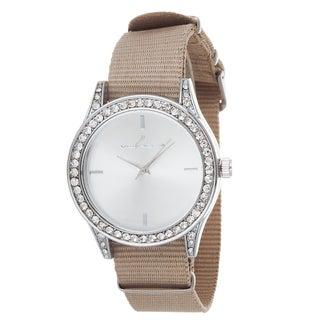 Via Nova Women's Silver Case and Plate Beige Nylon Strap Watch