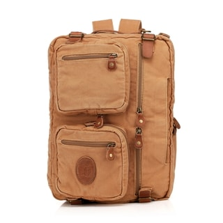 Vincenzo Canvas/ Leather Flex 15-inch Laptop Messenger Briefcase/ Backpack