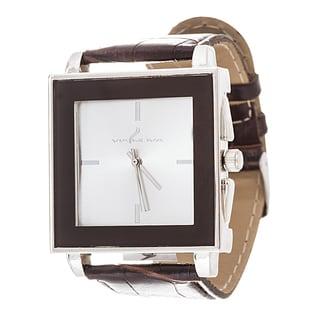 Via Nova Women's Square Silver Case Brown Leather Strap Watch