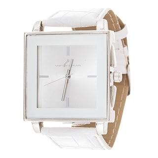 Via Nova Women's Square Silver Case White Leather Strap Watch