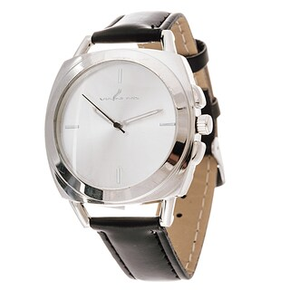 Via Nova Women's Square Silver Case Black Leather Strap Watch