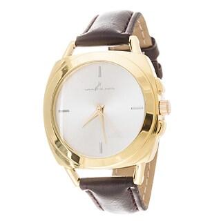 Via Nova Women's Square Gold Case Brown Leather Strap Watch