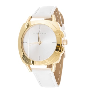 Via Nova Women's Square Gold Case White Leather Strap Watch