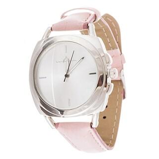 Via Nova Women's Square Silver Case Pink Leather Strap Watch