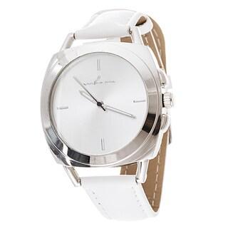 Via Nova Women's Square Silver Case White Leather Strap Watch
