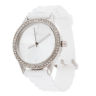 Via Nova Women's Round Silver Case White Rubber Strap Watch