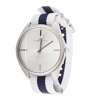 Via Nova Women's Round Silver Case White & Navy Blue Nylon Strap Watch
