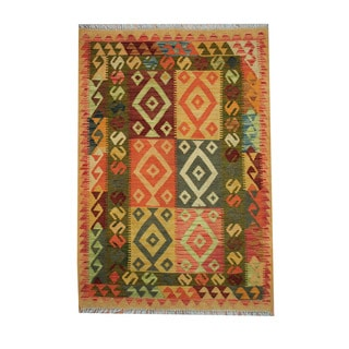 Herat Oriental Afghan Hand-woven Tribal Vegetable Dye Kilim Rust/ Green Wool Area Rug (3'5 x 5')