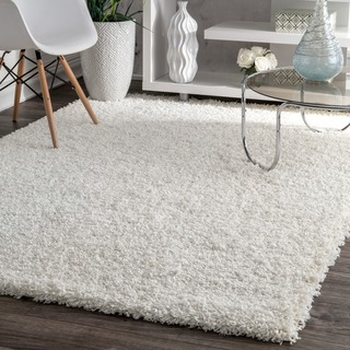 nuLOOM Alexa My Soft and Plush Solid White Shag Rug (10'6 x 14')
