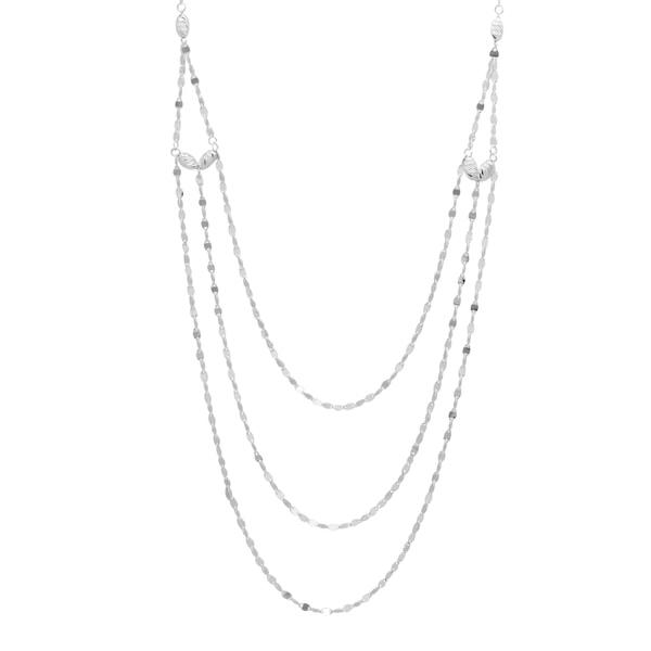 Sterling Essentials 25-inch Silver Diamond-cut Bead Twist Link Muli-Layered Necklace