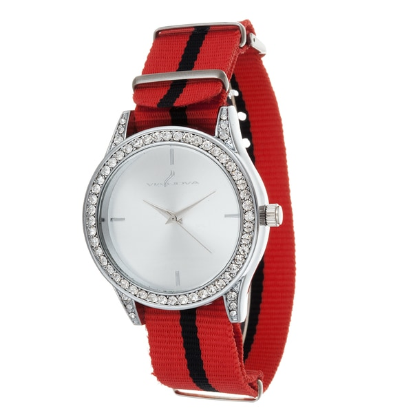Via Nova Women's Silver Case and Plate Red & Black Nylon Strap Cubic Zirconia Watch