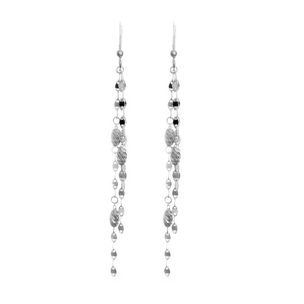 Sterling Essentials Silver Diamond-cut Bead Twist Drop Earrings