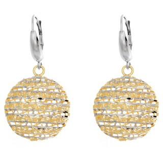 Sterling Essentials Two-tone Silver Diamond-cut Moon Drop Earrings