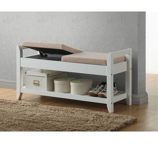 Quaid Contemporary White Solid Wood Shoe Storage Bench With Beige Fabric Upholstered Seat Cushions With Lift-Top Hinges