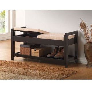 Quaid Contemporary Brown Solid Wood Shoe Storage Bench With Beige Fabric Upholstered Seat Cushions With Lift-Top Hinges