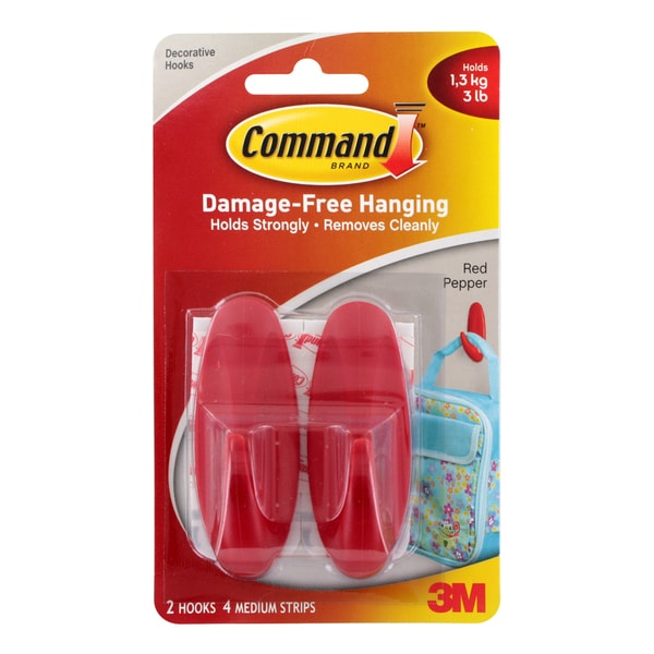 3M Command Red Medium Damage-free Hanging Hooks