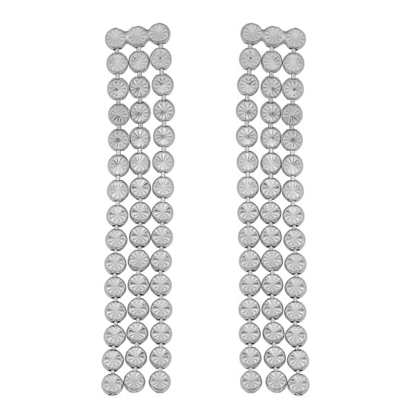 Argento Italia Rhodium Plated Sterling Silver Three Strand Diamond-cut Bead Link Drop Earrings