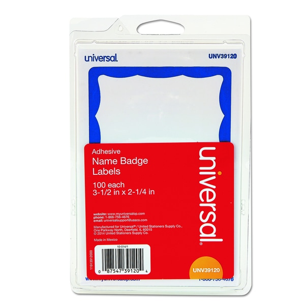 Universal Self-Adhesive White/Blue Name Badges (Box of 100)